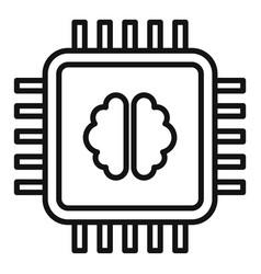 brain ai processor icon outline style vector image