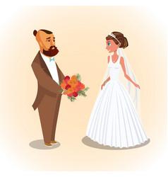 bride and groom newlyweds vector image