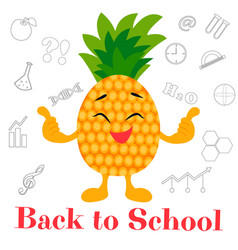 bright background back to school with pineapple vector image