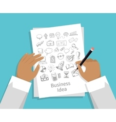 business idea set icon hand draw vector image