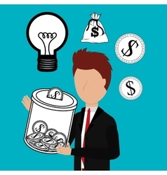 Business profits growth up vector