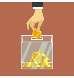 Businessman insert coin into donate box vector image