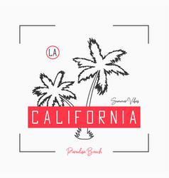 california t shirt design with slogan and hand vector image