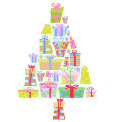 cartoon gift boxes christmas tree vector image