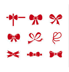Carved silhouette flat icon set bows with tape vector