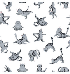 Cats yoga seamless pattern different yoga poses vector