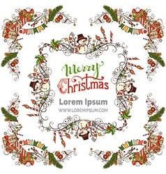 Christmas ornate frames set vector