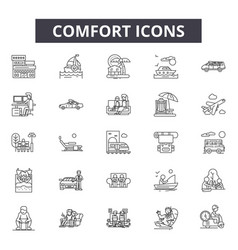 Comfort line icons signs set outline vector