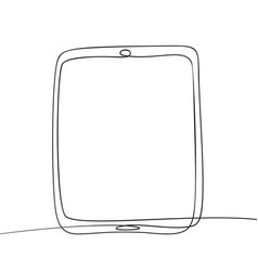 continuous one line drawing tablet black vector image