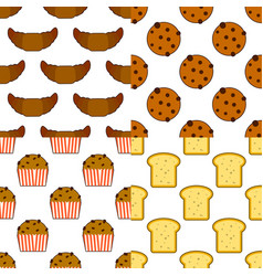 croissants wafers and cupcakes candy seamless vector image