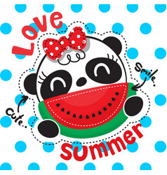 cute panda girl with watermelon slice smiling vector image