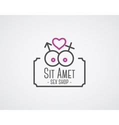 Cute Sex shop logo and badge design template Sexy vector