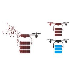 Destructed pixel halftone cargo drone icon vector