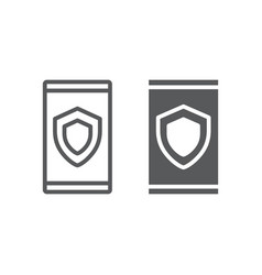 device security line and glyph icon data vector image