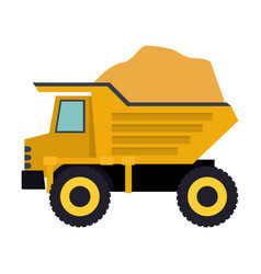 dump truck with load in colorful silhouette vector image