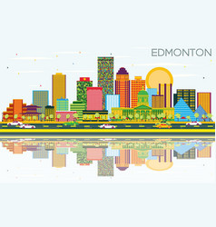 Edmonton skyline with color buildings blue sky vector