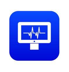 Electrocardiogram monitor icon digital blue vector