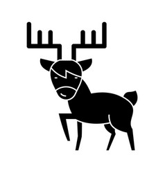 elk cute icon black sign on vector image