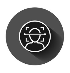 Face scan icon in flat style facial id on black vector