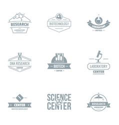 Facility center logo set simple style vector