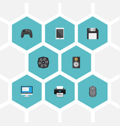 flat icons cooler computer mouse display and vector image