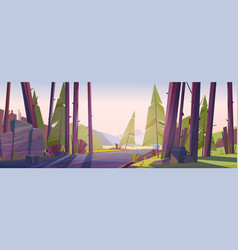 forest landscape with road and mountain on horizon vector image