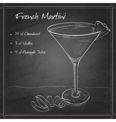 French Martini cocktail on black board vector