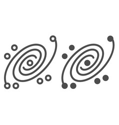 Galaxy line and glyph icon universe vector