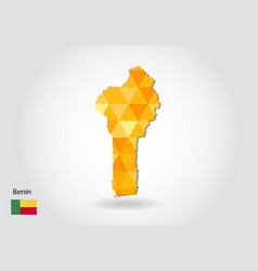 geometric polygonal style map of benin low poly vector image