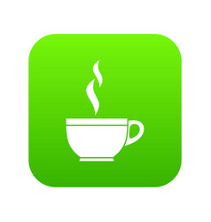 glass cup of tea icon digital green vector image