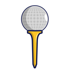 golf ball on a yellow tee icon cartoon style vector image