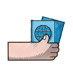 Grated hand with passport to travel document id vector