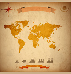 grunge world map old sailboats on old paper vector image