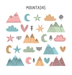 Hand drawn forest objects set creative vector