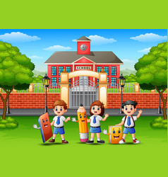 happy school children holding stationery in front vector image
