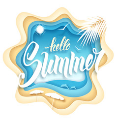 hello summer paper art vector image