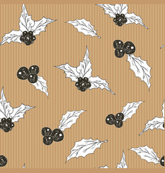 Holly leaves and berries hand drawn sketch retro vector