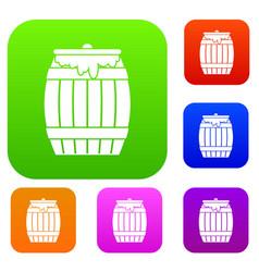 Honey keg set collection vector