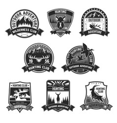 Hunting club adventure icons or badges set vector