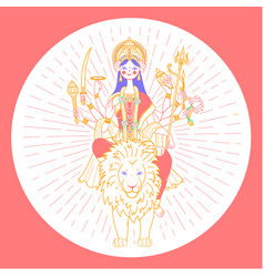 Icon of goddess durga vector