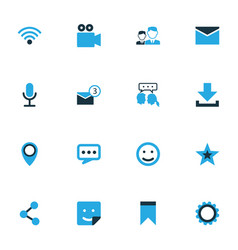 internet colorful icons set collection of vector image