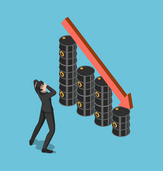 Isometric businessman shock when oil barrels vector