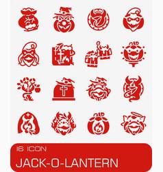 Jack-o-lantern icon set vector