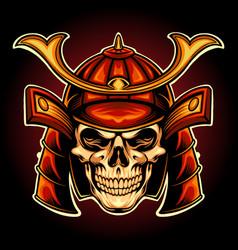 japan skull samurai warrior mascot vector image