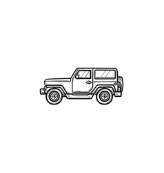 jeep hand drawn outline doodle icon vector image