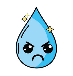 Kawaii cute angry water drop vector