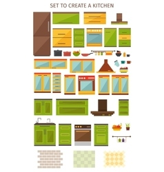 Kitchen Interior Elements Set vector