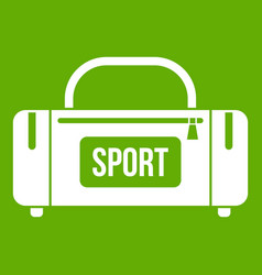 large sports bag icon green vector image