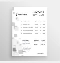 Minimal white invoice template design vector