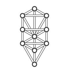 Monochrome outline sacred tree life diagram vector